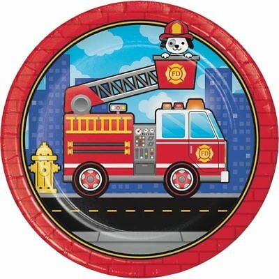 Flaming Fire Truck Dinner Plates (8) - Birthday Party Supplies - Fire Truck Birthday Supplies