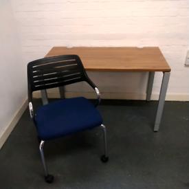 Haworth height adjustable walnut desk, mesh chair bundle deal