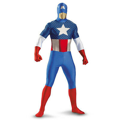 Adult Marvel Comics Avengers Superhero Captain America Morph Bodysuit Costume - Captain America Costume Adult