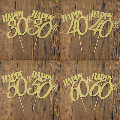 DIY Cake Toppers Cupcake Cake Birthday Party Decor Supplies Happy 30/40/50/60th (60th Birthday Cake Toppers)