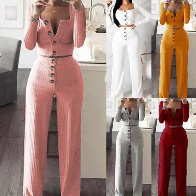 Women Knitted Long Sleeve Crop Top Wide Leg Pants 2 Piece Set for women 2PCS Set 2 Piece Long Sleeve Leggings