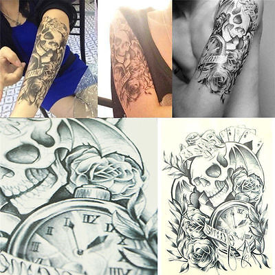 Large Sexy Tattoo Skull Temporary Body Arm Stickers Black Removable Waterproof on Rummage