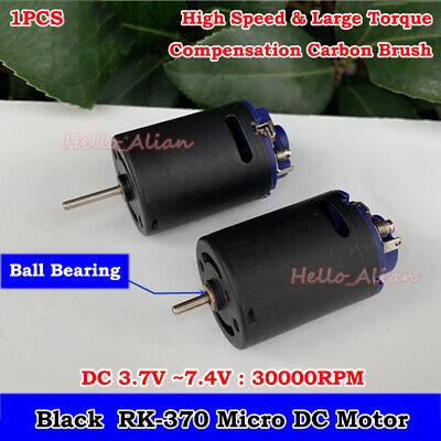 370 Carbon Brush Motor DC 3V~7.4V 30000RPM High Speed Large Torque Ball Bearing ()
