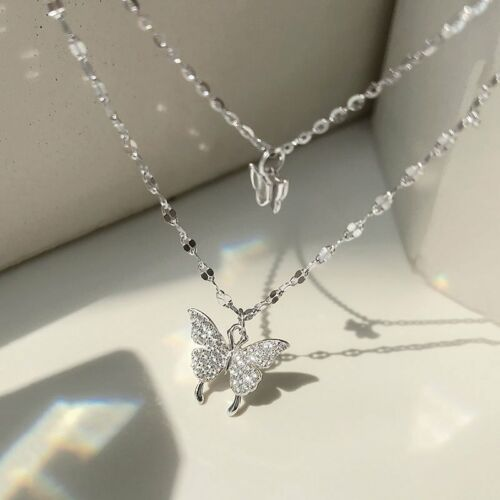 Charm 925 Silver Double Butterfly Zircon Necklace Clavicle Women Jewelry Gifts 2
