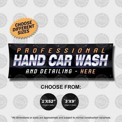 Pofessional Hand Car Wash Detailing Banner Sign Display Auto Custom Spa Shop Rim