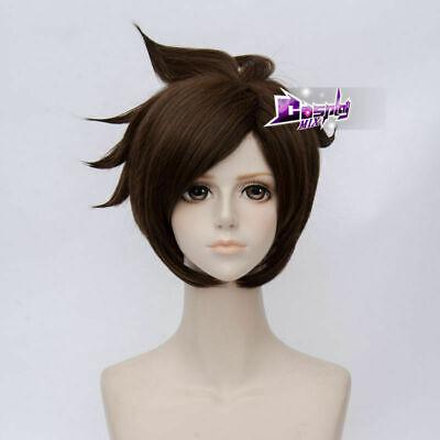 Short Brown Halloween Wig (Halloween Party Dark Brown 30 CM Short Layered Women Cosplay Wig Heat)