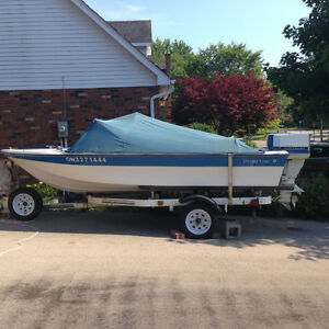 14 Foot Fiberglass Maurice Boat With Trailer, 35 HP Chrysler