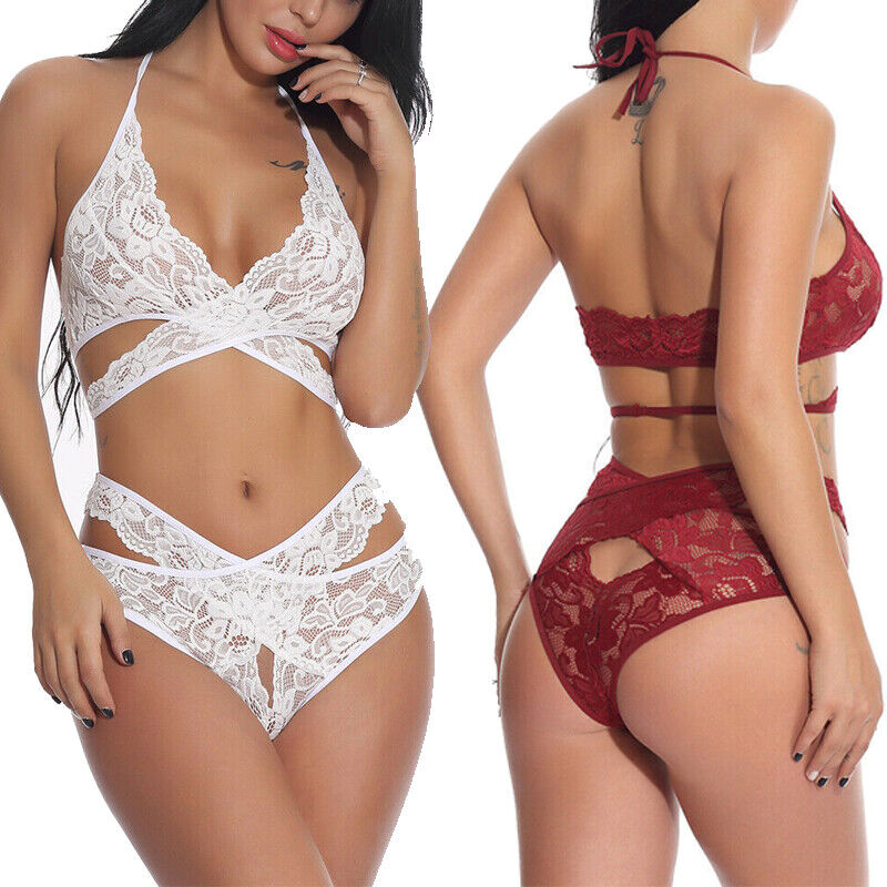 Women Sexy Lingerie Lace Babydoll Sleepwear Underwear Bra and Panty Sets US Bras & Bra Sets