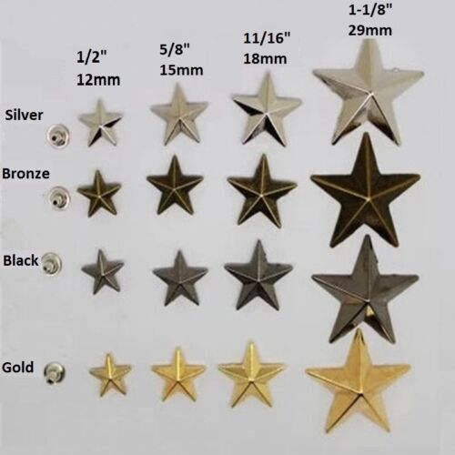 "Pkg 10 Metal STAR 1/2"" to 1-1/8"" (12 to 29mm) RIVET Studs Crafts 6mm post (1085)"