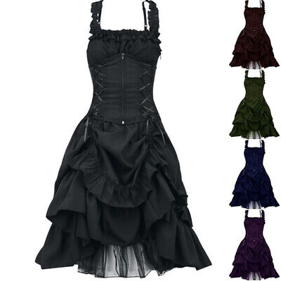 Victorian Women Gothic Retro Sleeveless Lace up Party Gown Dress Cosplay Costume - Retro Party Costumes