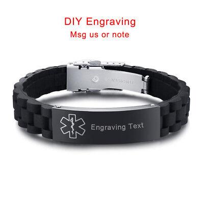 Medical Alert ID Men Women Bracelet Black Silicone Wristband Customize -
