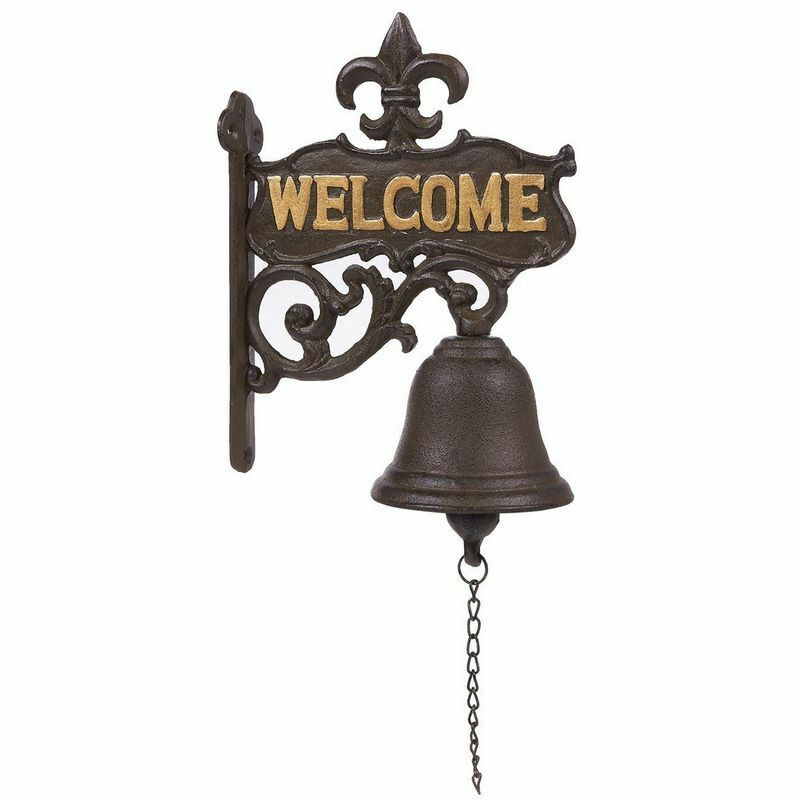 Cast Iron Bell - Welcome Entry Door Bell, Antique Doorbell Decoration Black