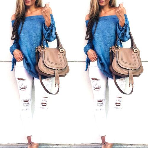Fashion Women Ladies Summer Loose Casual Cotton Long Sleeve Shirt Tops Blouse US