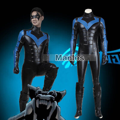 Batman Cosplay Arkham City Nightwing Robin Costume Jumpsuit Zentai Men Outfits (Arkham City Robin Halloween Costume)