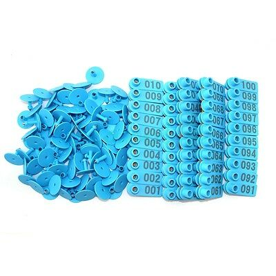 001 100 Blue Number Plastic Livestock Ear Tags Animal Tag For Goat Sheep Pigs