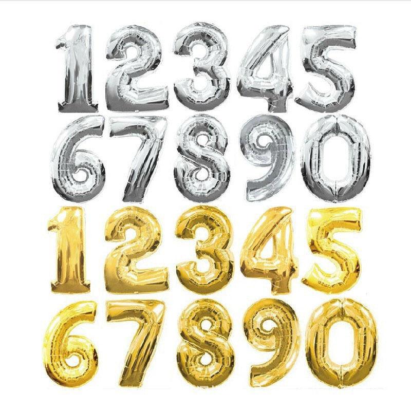 """как выглядит Воздушный шар для праздника или вечеринки 16"""" Silver Gold Letter Number Foil Balloon Wedding Celebration Party Decor фото"""