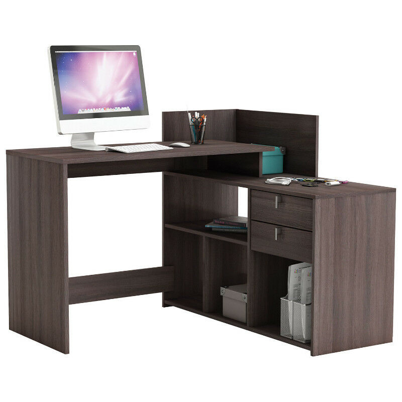official photos 1311d eea97 Demeyere Vista Contemporary L-Shaped Corner Desk - Dark Brown