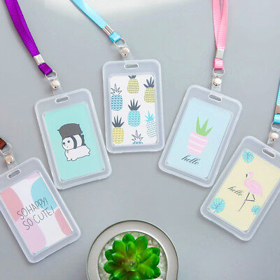 Cute Plastic Work ID Bus Card Badge Case Wallet Holder Cover With Neck Lanyard](Plastic Lanyard)
