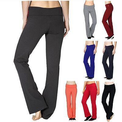Yoga Athletic Foldover Waist Band Fitness Gym Pants Plus S M L Xl Flared Leg