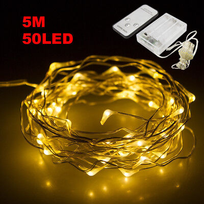 30/50/100 LED String Battery Operated Copper Wire Fairy Lights Xmas Party+Remote