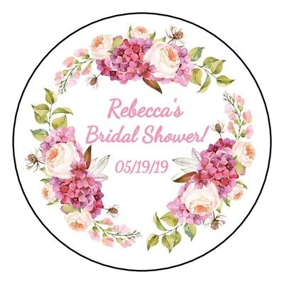 12 Boho Bridal Shower Stickers favors labels wedding floral wreath thank you