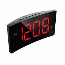 Digital 5 Inch Dimmable LED Screen Bedroom USB Alarm Clock Radio Snooze Function