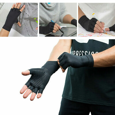 Copper Compression Gloves Arthritis Carpal Tunnel Hand Wrist Brace Support