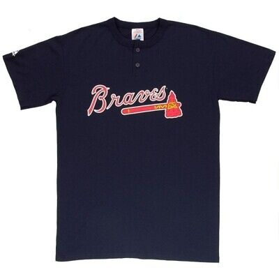 Braves Youth Replica Jersey - Majestic Two-Button Atlanta Braves Replica Youth Jersey 50/50 Blend YXL (R17)