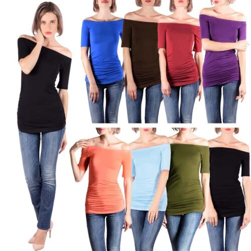 Summer Women Ladies Off-Shoulder Short Sleeve Loose Blouse Casual Tops Tee Shirt