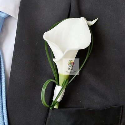 Best Man Groom Boutonniere Wedding  Flower Pin Brooch White Calla