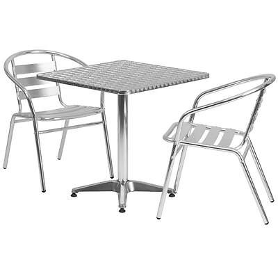 27.5'' SQUARE ALUMINUM INDOOR-OUTDOOR TABLE WITH 2 SLAT BACK CHAIRS