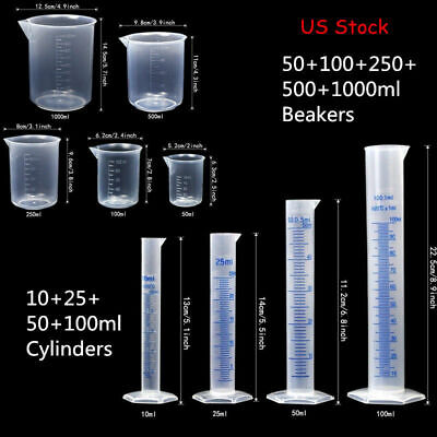 Lab Plasticware Set,4 Clear Plastic Graduated Cylinders with 5 Beakers +1 Brush (Clear Plasticware)