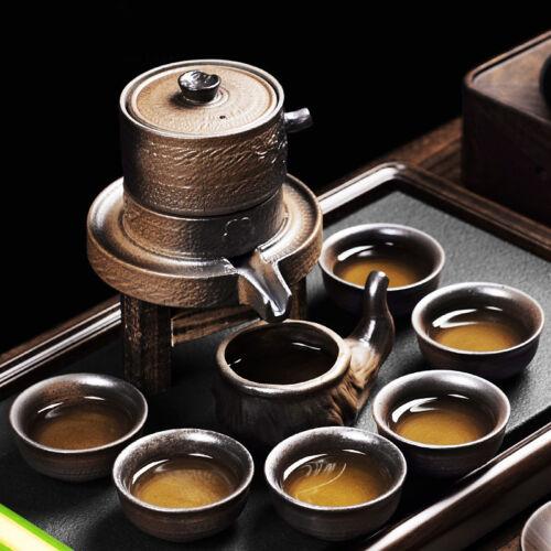 antique tea set stone mill design semi-automatic tea set pottery pot pitcher cup
