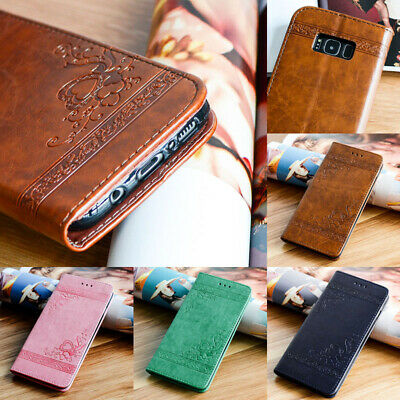 Embossed Leather Wallet Flip Stand Case Cover For Samsung Galaxy S9 8 7 (Embossed Leather Case)