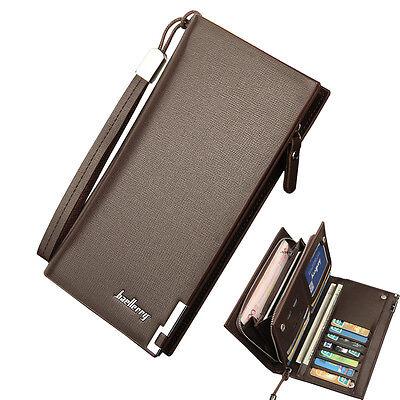 Men's Leather Wallet Bifold ID Card Holder Purse Checkbook Long Clutch Billfold ()