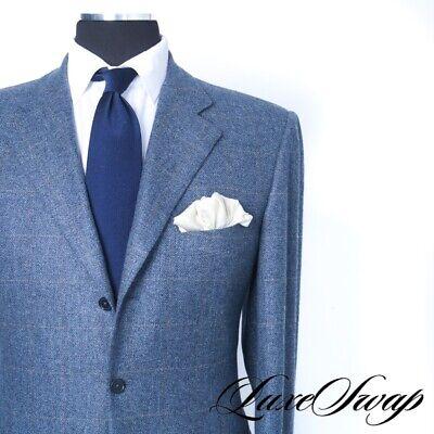 Pal Zileri Sartoriale 100% Cashmere Blue Flannel Speckle Khaki Plaid Jacket 52