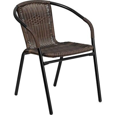 Flash Furniture Dark Brown Rattan Indoor-Outdoor Restaurant Stack Chair NEW