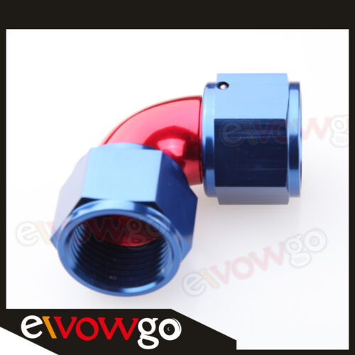 90 Degree AN-12 AN12 To AN12 12AN Female To Female Full Flow Adapter Red/Blue