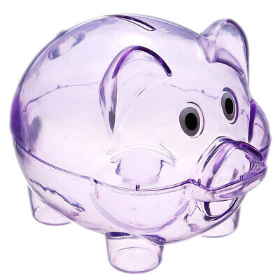 ar Piggy Bank Coin Box Money Cash Saving Case Kids Toy L5B9 (Clear Plastic Piggy Bank)