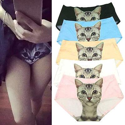 Damen Pussy Höschen Slips Höschen Katze Bedruckt Unterwäsche Unterwäsche U ZF