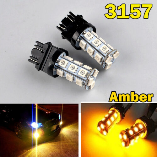 2x Amber 3157 P27/7W T25 P27W LED Indicator Reverse Tail Brake Turn Side Light2