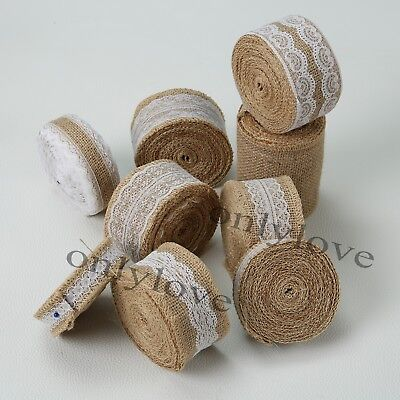 Burlap Wedding Decorations (Jute Burlap Natural Hessian Ribbon Lace Trim Edge Wedding Rustic Vintage)