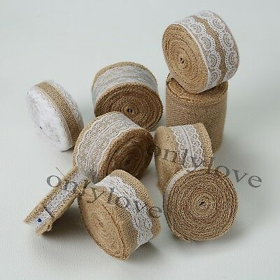 Jute Burlap Natural Hessian Ribbon Lace Trim Edge Wedding Rustic Vintage Favor