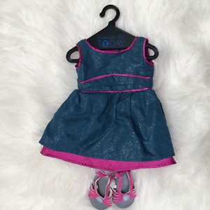 American Girl - denim dress with matching shoes