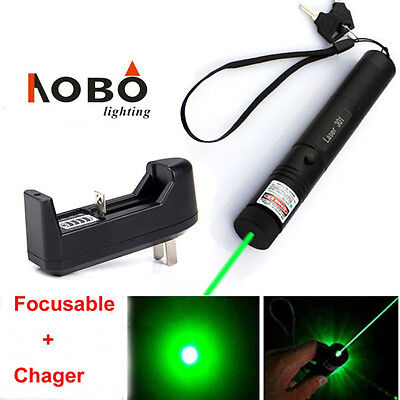 Focusing Power 5mw 532nm Green Laser Pointer Pen Lazer Beam Light Showcharger