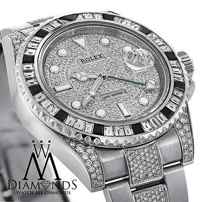 Diamonds Rolex GMT-Master II 116710 with Custom Diamond Baguette Bezel Pave Dial