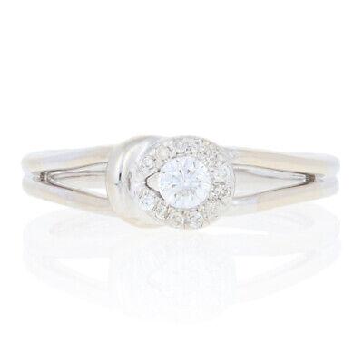 25ctw Round Brilliant Diamond Ring - 14k White Gold Love Knot Halo