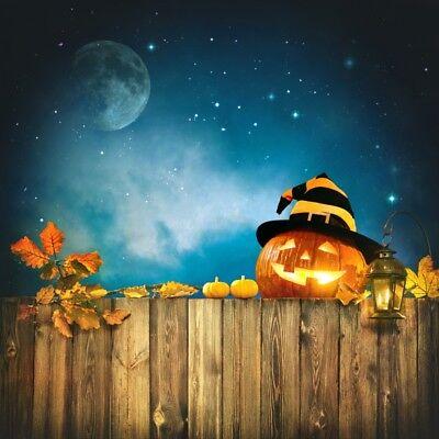 8x8ft Funny Halloween Pumpkin Lantern Moon Backdrop Backdrop Photo Background