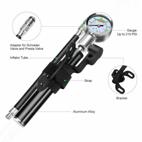 Tragbar Hochdruck MTB Fahrrad Fahrrad Kompakt Federgabel & Dämpferpumpe Tool Kit