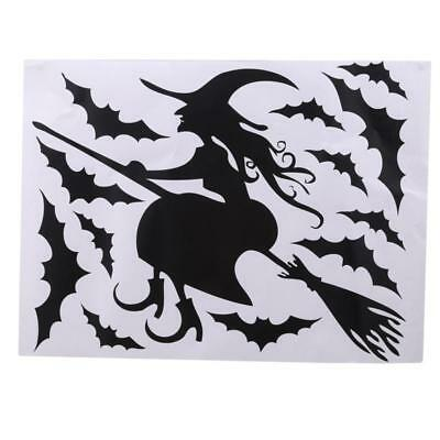 Halloween Witch Bat Decoration Wall Paper Art Viny Removable Stickers JJ